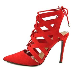 Red Cut Out Heels / size 9